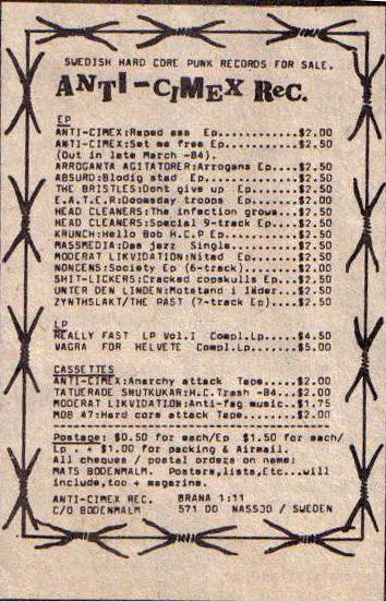 Anti-Cimex Records ad